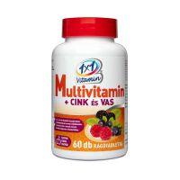 1x1 Vitamin Multivitamin + cink és vas rágótabletta erdei gyümölcs ízben