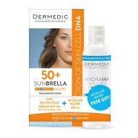 Dermedic Sunbrella fényvédő arckrém száraz és normál bőrre SPF50+ +  Dermedic Hydrain Micellás víz H2O