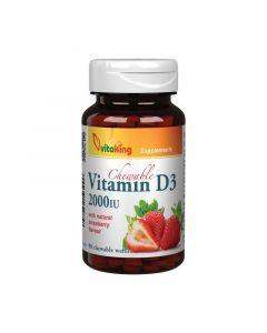 Vitaking D-vitamin 2000NE rágótabletta eper ízű